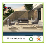 Jardín de acero inoxidable sofá con apoyabrazos de teca