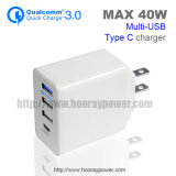 O Tipo-c adaptador portuário 5V 3A 9V 2A 12V 1.5A do carregador do USB 3 do QC 3.0 jejua carregador da parede da carga para o telefone do Android do iPhone do iPad