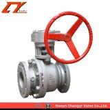 Conexión de brida de alto rendimiento rueda helicoidal de la mitad/válvula de bola
