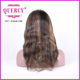 Destaque Cor 100% Virgem Humana Wavy Front Lace Wig, 100% Cabelo Humano