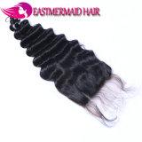 Onda profonda del merletto dei capelli umani di prezzi di promozione della chiusura brasiliana dei capelli