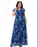 Красивейшее платье лета флористической печати шифоновое для тучной женщины