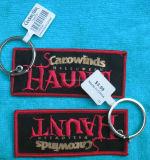Custom Woven borduurwerk Stof Keychain
