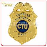 Hecho a la medida Credencial de Policía brillante metal plateado del emblema del oro