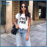 2017 [ت] قميص بيع بالجملة الصين عالة [ت-شيرت] قصّر نساء كم