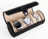 Caja de reloj de cuero de cocodrilo negro brillante