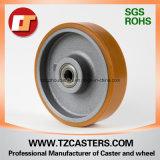 Rodízio giratório com roda PU de freio com centro de ferro fundido