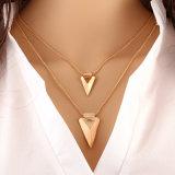 Sierlijke Halsband van de Laag van de Juwelen van Collares van de Tegenhanger van de driehoek de Minimalistische Dubbele