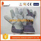 Ddsafety 2017の牛のそぎ皮の手袋の綿背部安全働く手袋