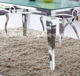 Weißes Glas auf die Oberseite, Edelstahl-Tisch-Esszimmer-Möbel