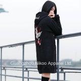 Mujeres de la moda de tamaño largo sudaderas con capucha sudaderas con bordados