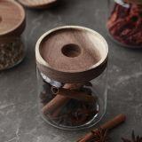 Vaso di legno di vetro del coperchio dell'alimento di memoria del vaso del vaso di vetro di vetro dell'articolo da cucina