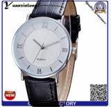 Yxl-844 ouro do relógio de pulso do couro da caixa da liga das mãos da forma dois ou relógio chapeado prata para homens ou mulheres