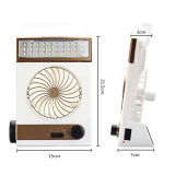 Ventilador Solar Rechageable refrigerador portátil Lámpara de Camping con luces LED panel solar