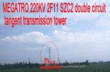 Doppia torretta della trasmissione di tangente del circuito di Megatro 220kv 2f11 Szc2