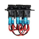 Interruptor basculante de 3 módulos impermeable + Panel LED DE 12V Voltímetro + Doble toma de alimentación USB cargador para coche barco / / Marina