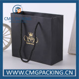 Matt Luxury Black Wedding Gift Bag con Hot Foil Stamping (CMG-MAY-018)