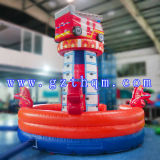 Fire Truck Cartoon Inflatable Rock Climbing Wall / Inflatable Climbing Rope Wall for Kids