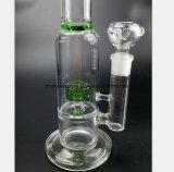 Cachimbo de água de vidro do filtro do ninho do pássaro do verde da tubulação do fumo de 12.2 polegadas