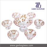 tazón de fuente de cristal del helado 7PCS con la hoja del color (TZ7-GB16013-P1)