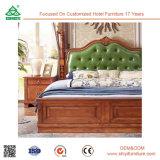 Кровать твердой древесины и кожи двойной кровати короля Размера