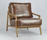 型の世紀半ば2のSeaterの木製フレームの現代ブラウンの革ソファー