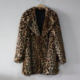 Capa larga de la chaqueta de la piel del Faux del leopardo