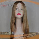 Longue perruque blonde à extrémité élevé de lacet de cheveux humains (PPG-l-0400)