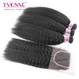 Yvonne-Form-brasilianische Haar-Bündel mit Spitze-Schliessen-verworrenem geradem