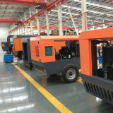 145 PSI duas fases do Compressor de ar de parafuso portátil de gasóleo sobre as rodas de pneus