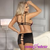 en satin de luxe noir pourpré sexy courant le multiple attache la lingerie