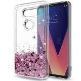 LG V30 de liquide de cas Cas avec écran HD pour les filles du protecteur de sables mouvants clair du couvercle du carter de protection TPU Téléphone