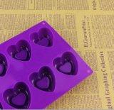 Moulage de savon de silicones de forme de coeur, moulage de gâteau de fondant