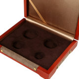 포장하는 호화스러운 나무로 되는 동전, 기념품 선물 포장 상자