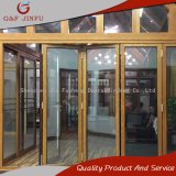 Madera que mira la puerta de plegamiento multi de aluminio del panel con el vidrio doble