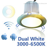 Blanco doble Downlight LED regulable WiFi ajustable CCT 3000-6500K 15W 6pulg.
