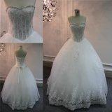 Vestido de casamento nupcial de perolização pesado dos vestidos do vestido de esfera dos cristais do querido