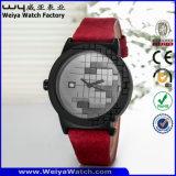 ODMの革バンドの方法水晶女性腕時計(Wy-115E)