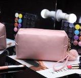 Bolso azul de cuero del cosmético del artículo de tocador de la bolsa del maquillaje de la PU de la alta calidad al por mayor del OEM