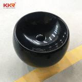 Dispersore rotondo nero lucido della stanza da bagno della pietra della resina (B1711233)