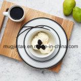 Enamelware/Ceramische Stevige het Kamperen 12PCS van de Lijst van de Rand van de Kleur Zwarte Vastgestelde OpenluchtReeks