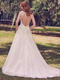 Les robes de mariée sans manches cousu main perles robe de mariée de Tulle Yao117