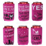 6PCS/Lot女の子党ビール結婚披露宴の好意ビールソーダ缶のクーラーがある短いビール缶のクーラーの袖の雌鶏夜花嫁