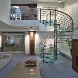 El interior de madera maciza escalera de caracol con pasamanos de acero inoxidable