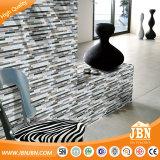 Balcón muro de piedra, acero inoxidable y mosaico de vidrio de color blanco (M855058)