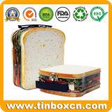 ハンドルが付いているサンドイッチ形の金属のブリキのお弁当箱をカスタマイズしなさい