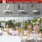 De goedkope Witte Stoel van het Huwelijk van de Huur van het Roestvrij staal van het Leer Gouden Stapelbare (yc-ZS51)