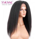 Peluca recta rizada negra natural brasileña del cordón del pelo humano de Remy