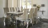 セットされる現代食堂の家具/クロムクリーム色のビロードの椅子のダイニングテーブルセット