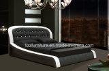 Rundes Headboard-Leder-Bett-gesetzter moderner hölzerner Bett-Rahmen
